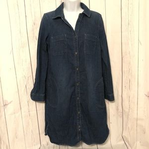 J. Jill Denim Dark Blue Jean Dress Pockets Small